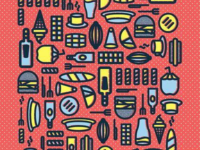 Patrón de Comida Venezolana iconos ilustrador iconos venezolanos cocada tequeño cacao rum beer coffe venezuelan food food icons icons set icons packs españa venezuela vector plano diseño ilustración
