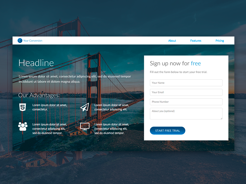 Freebie: Landing Page Template download freebie free web design html5 template sign up form conversion landing page