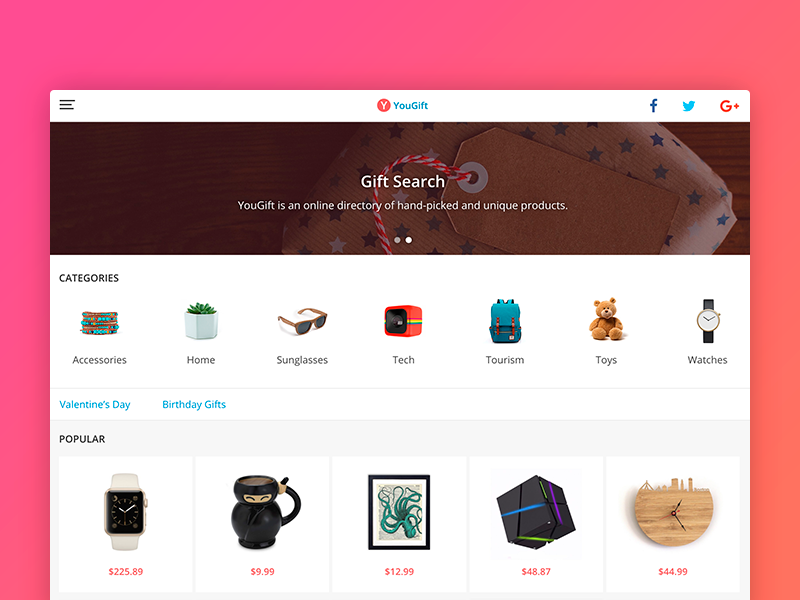 Product Feed gradient store shop gift clean search feed product design web