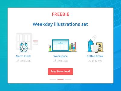 Freebie: Weekday illustrations svg png illustration freebie free download coffee clock alarm desk