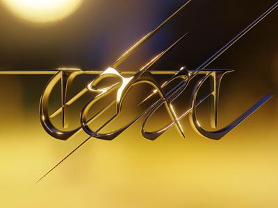 Honey lighting chrome reflection shine glow text sample typography blender 3d
