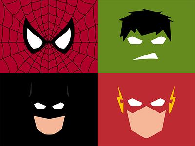 Minimalistic Superheroes marvel comic batman flash hulk spiderman superheroes minimalistic