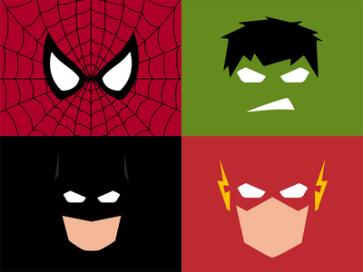 Minimalistic Superheroes marvel comic batman flash hulk spiderman superheroes minimalistic