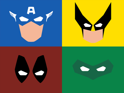 Minimalistic Superheroes marvel comic green lantern deadpool wolverine captain america superheroes minimalistic