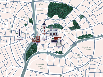Map of Hradec Králové print design print mapdesign map procreate pink architecture illustration