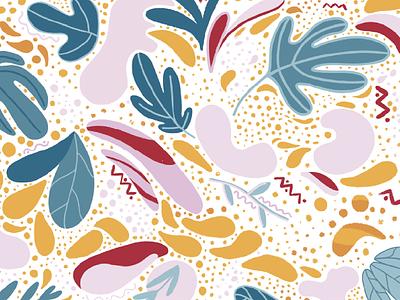Wallpaper colorful leaves wallpaper background procreate pink illustration