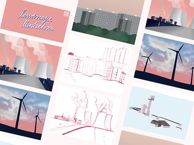 Landscape illustrations sketches doodle town factory landscape vector vector illustration procreate illustration