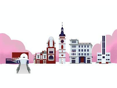 Buildings of Hradec Králové vector art buildings vector procreate architecture illustration