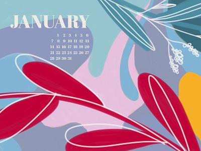 January procreate color wallpapers january 2019 calendar illustration wallpaper
