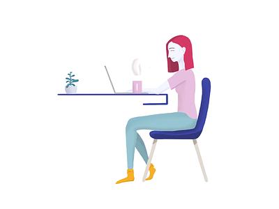 Workday work ipadpro procreate flower macbook illustration coffee setup desk