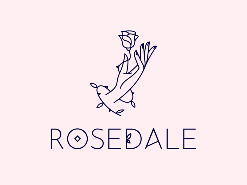 Rosedale branding design brand identity nail salon nails art women woman pink logo pink beauty beauty salon hand flower logo flower rose design illustration branding logo logotype