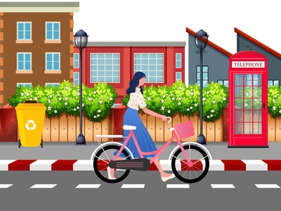 girl with bicycle girl illustration girl graphicdesign adobe illustrator illustration art vector design illustration bicycles bicycle