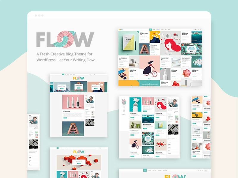 Flow theme design fresh blogger creative showcase blog artistic color modern art uxdesign pattern uidesign art shapes responsive modern vector web design illustration