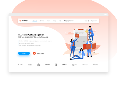 Pushapp main page minimal website ux illustrator ui clean web flat design vector illustration