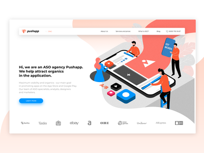 Concept website for Pushapp website minimal branding ux illustrator ui clean web flat design vector illustration