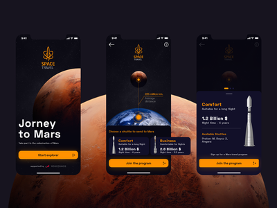 Jorney to Mars interface spaceman xd spaceship jorney mars space app ux ui clean flat design