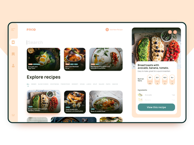 Recipes foodie food website minimal ux web ui clean flat design