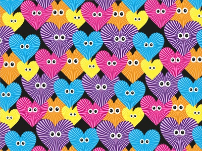 I Only Have Eyes For You vector illustration pattern kawaii