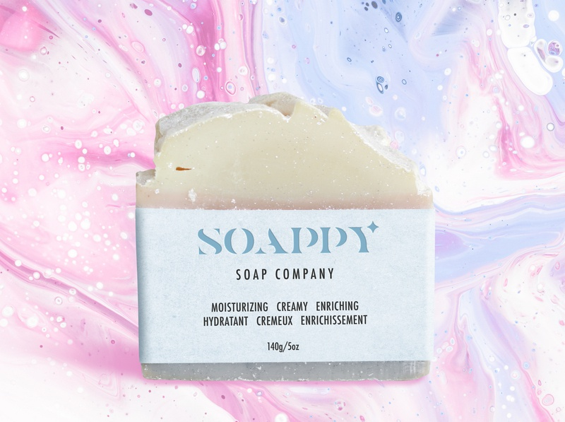 "a label for a fictional brand of soap ""Soappy"""