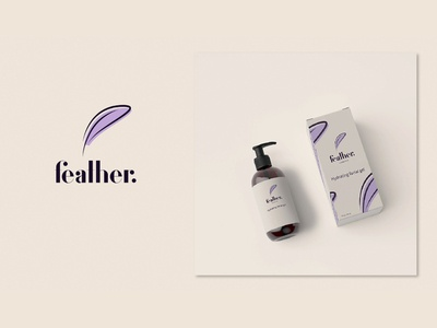 "a logo and branding for a fictional brand of cosmetics ""Feather"""