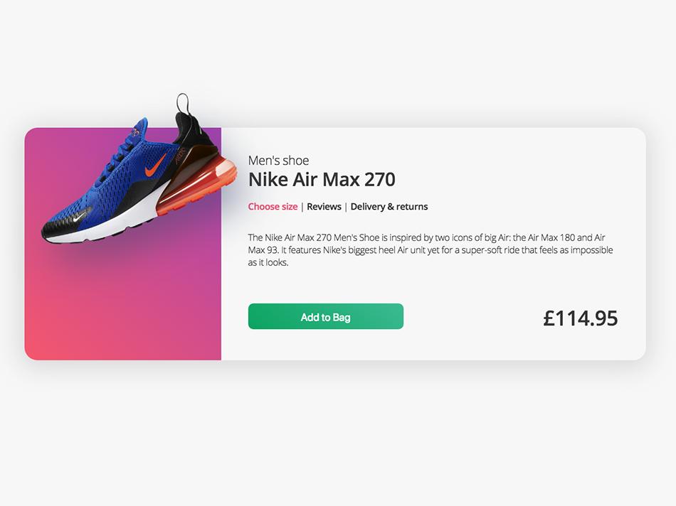 Product Page Ui - Nike Air Max nike air max branding web design design creative ui product design product card product air max nike