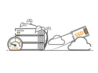 Eco Friendly SSD Technology hosting cloud hosting technology ssd branding icon ux flat product web design outline vector illustrator design illustration ui creative