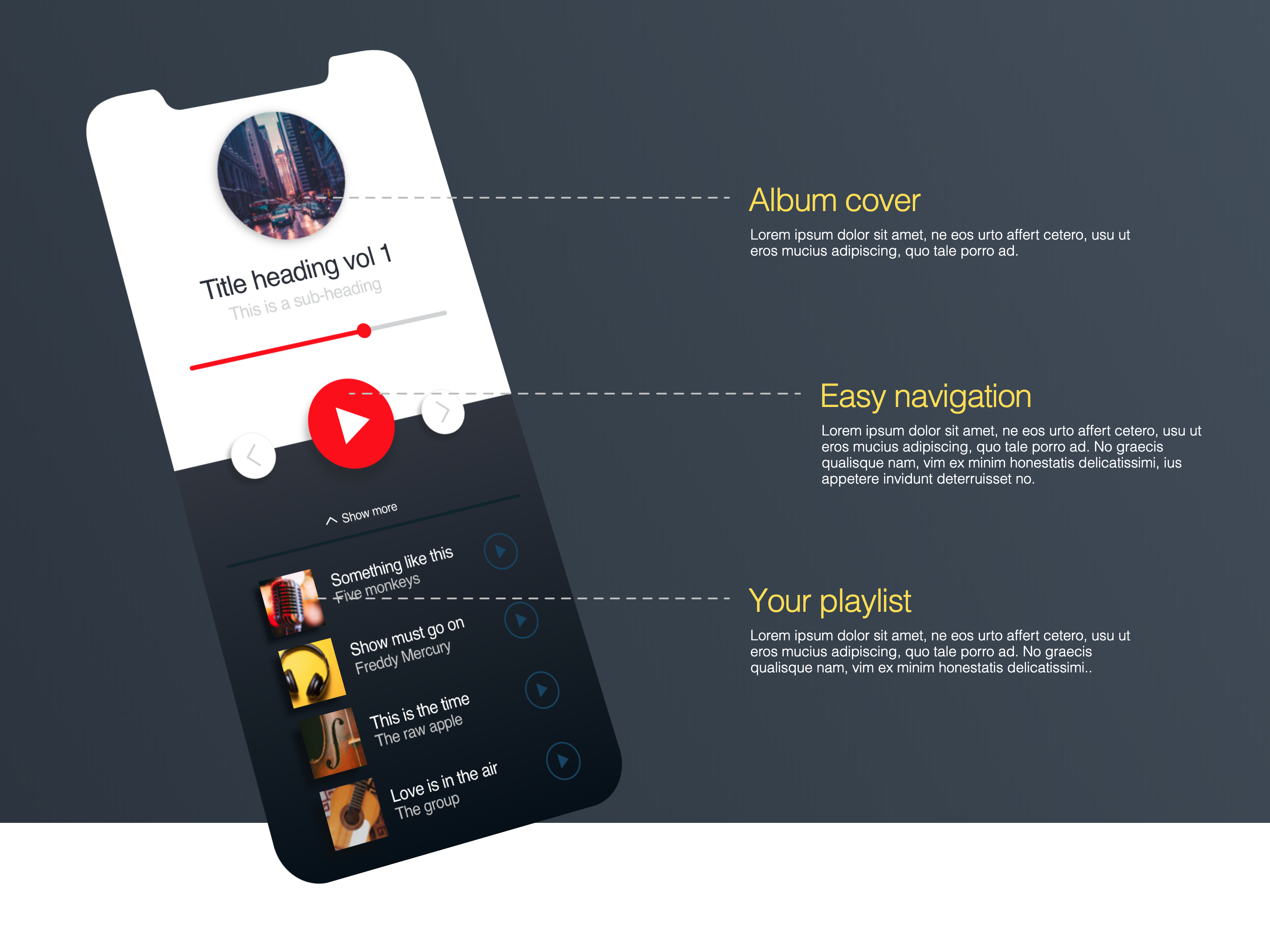 Music Player - Animated Codepen HTML project by Leszek Chylarecki