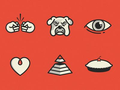 Icon Development  imm bulldog heart passion eye focus pie humble pyramid fist bump collaborate icons colorado agency boulder