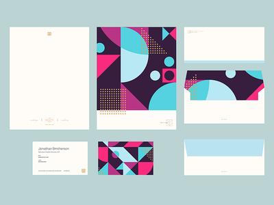 IMM Brand Stationery ALT Color business card letterhead branding geometric stationary identity