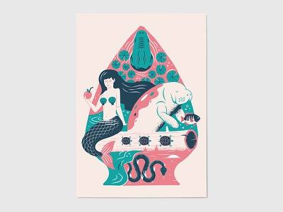 """Arrowhead"" for Afterhours ATX manatee gator florida snake mermaid print austin poster"