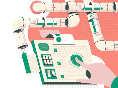 Billing on Autopilot automation paper illustration site design ui startup machine invoice