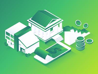 Mixpanel Financial Illustration tech isometric blockchain money crypto illustration finance