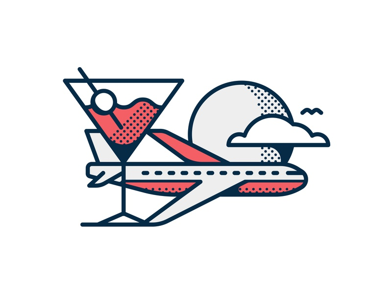 Jet Blue Illustration drink airplane editorial icon illustration travel