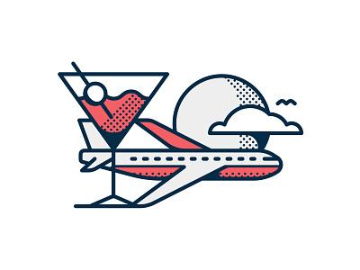 Jet Blue Illustration drink airplane editorial icon illustration travel