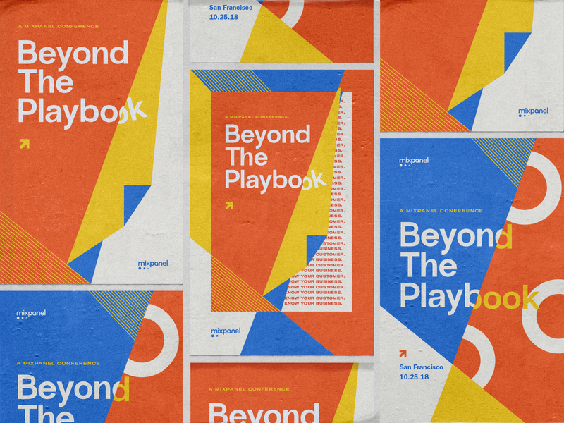 """Mixpanel """"Beyond the Playbook"""" system typography poster startup branding conference"""