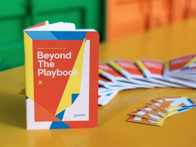 """Mixpanel """"Beyond the Playbook"""" notebook analytics startup swag branding conference notebook book"""
