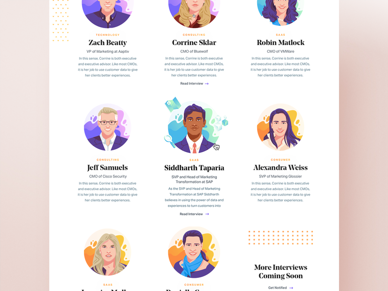 Data and the Modern CMO Rollover analytics layout editorial icons illustration ui