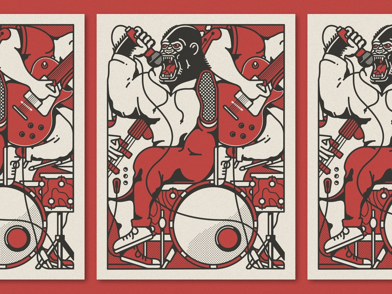 """Gorilla Youth"" Afterhours Poster guitar drums austin music punk gorilla illustration"