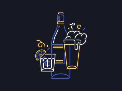Neon Sign Concept happy hour drinks beer icon illustration bar neon