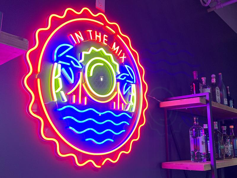 Mixpanel Neon Sign brand bar beach design illustration