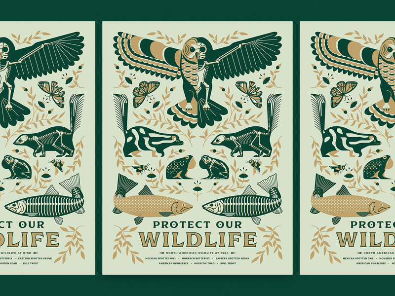 """Protect our Wildlife"" AfterHoursATX 2019 Poster screenprint art wildlife illustration afterhours political poster"