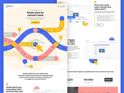 Mixpanel Conversions Landing Page tech illustration landing page conversions data
