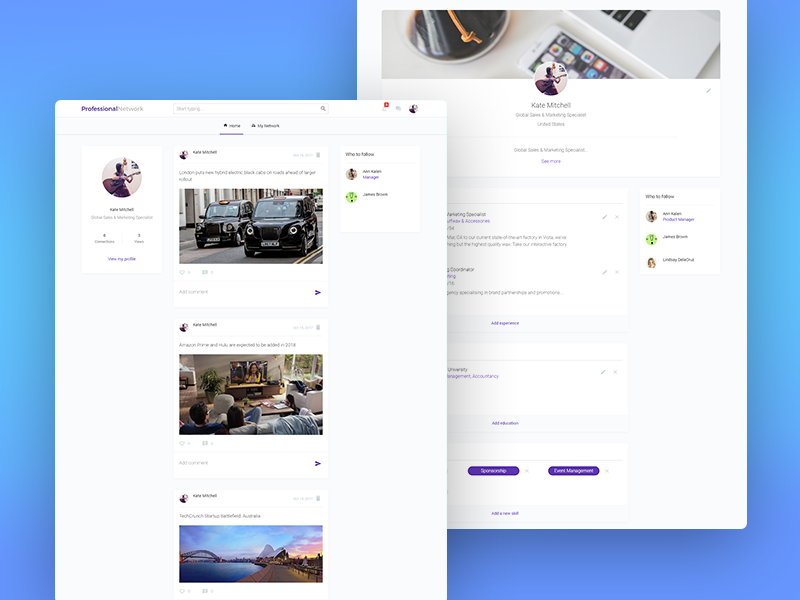 Linkedin Clone Template built with no-code template functional responsive zeroqode bubblewits bubble visual programming without code no-code templates linkedin