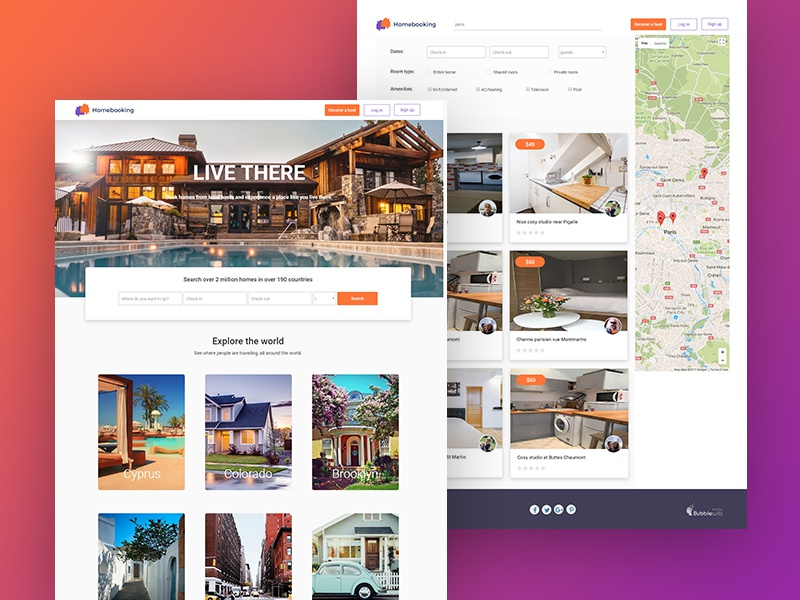 Airbnb Clone Built Without Code template functional responsive zeroqode bubblewits bubble visual programming without code no-code templates airbnb