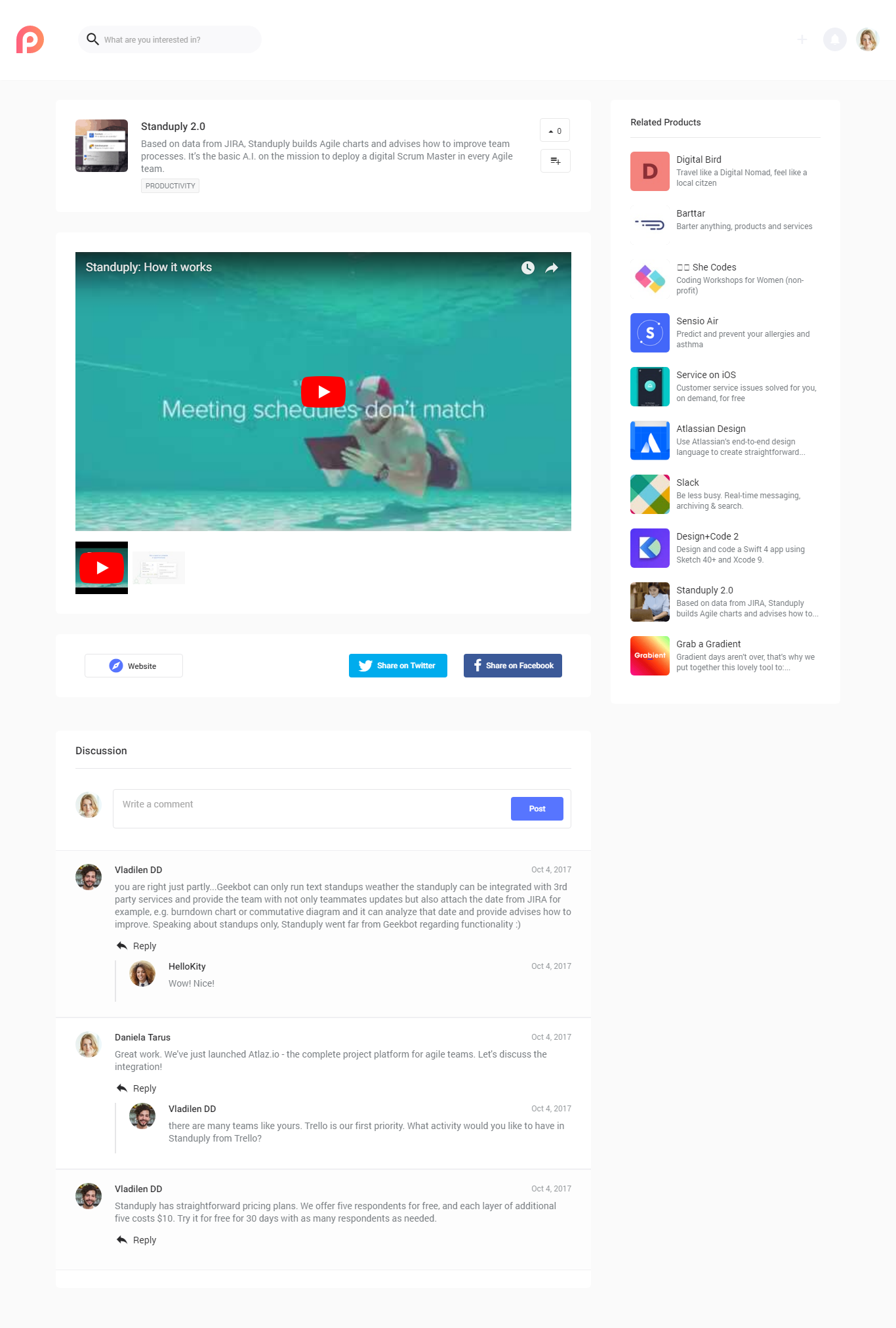 Dribbble - producthunt-product-comments png by Zeroqode