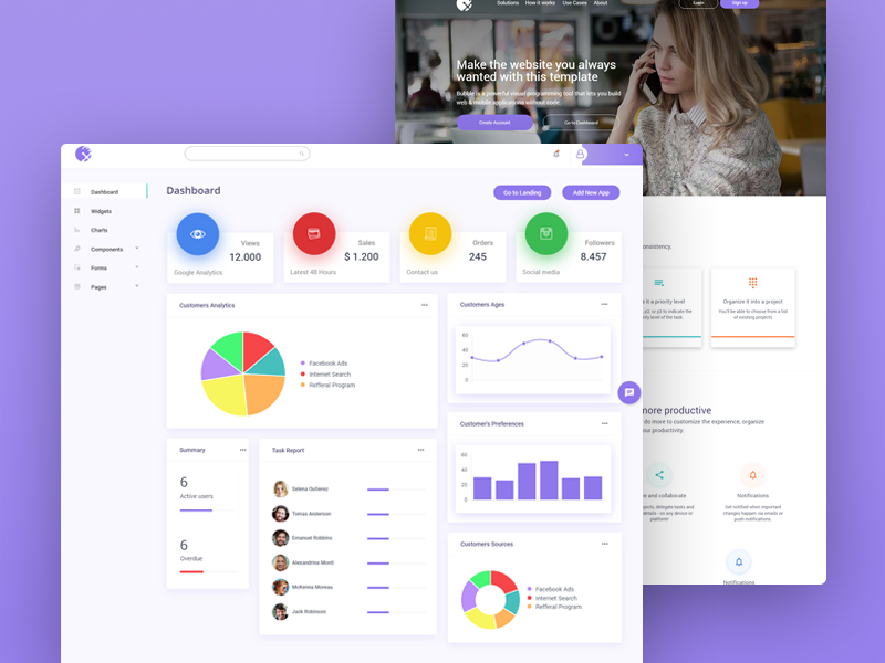 Complete Startup Kit Built Without Code template functional responsive zeroqode bubblewits bubble visual programming without code no-code templates dashboard
