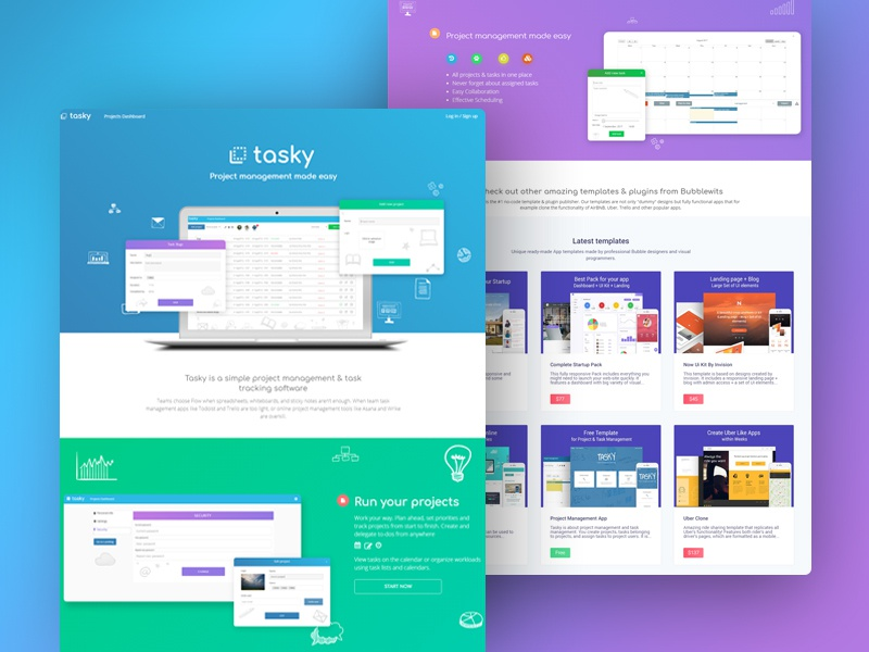 Project Management App Built Without Code dashboard functional responsive zeroqode bubblewits bubble visual programming without code no-code templates projects