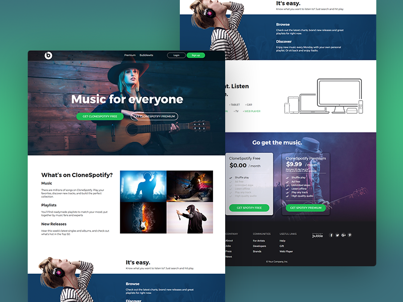 Spotify Clone Built Without Code template functional responsive zeroqode bubblewits bubble visual programming without code no-code templates spotify