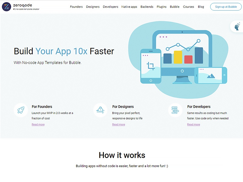 Zeroqode - Build your app up to 10x faster template functional responsive bubblewits bubble visual programming without code no-code templates zeroqode