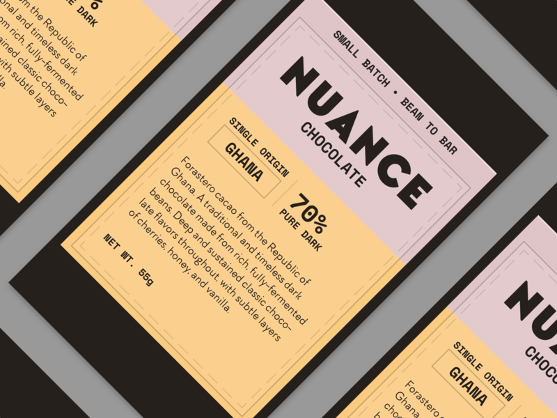 Nuance Dark Chocolate Bar Redesign brand identity branding design logo candy bar dark chocolate candy packaging branding chocolate bar chocolate